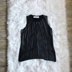 Zara Knit Black Faux Leather Tank Top Size Small